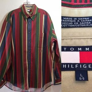Vintage Tommy Hilfiger Multi Stripe Button Shirt L